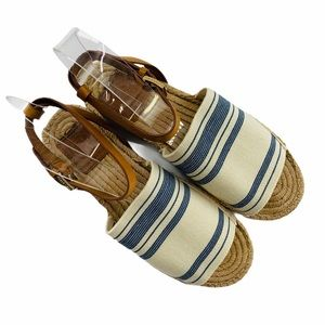 ☀️ Tory Burch Awning Canvas Espadrille Sandal